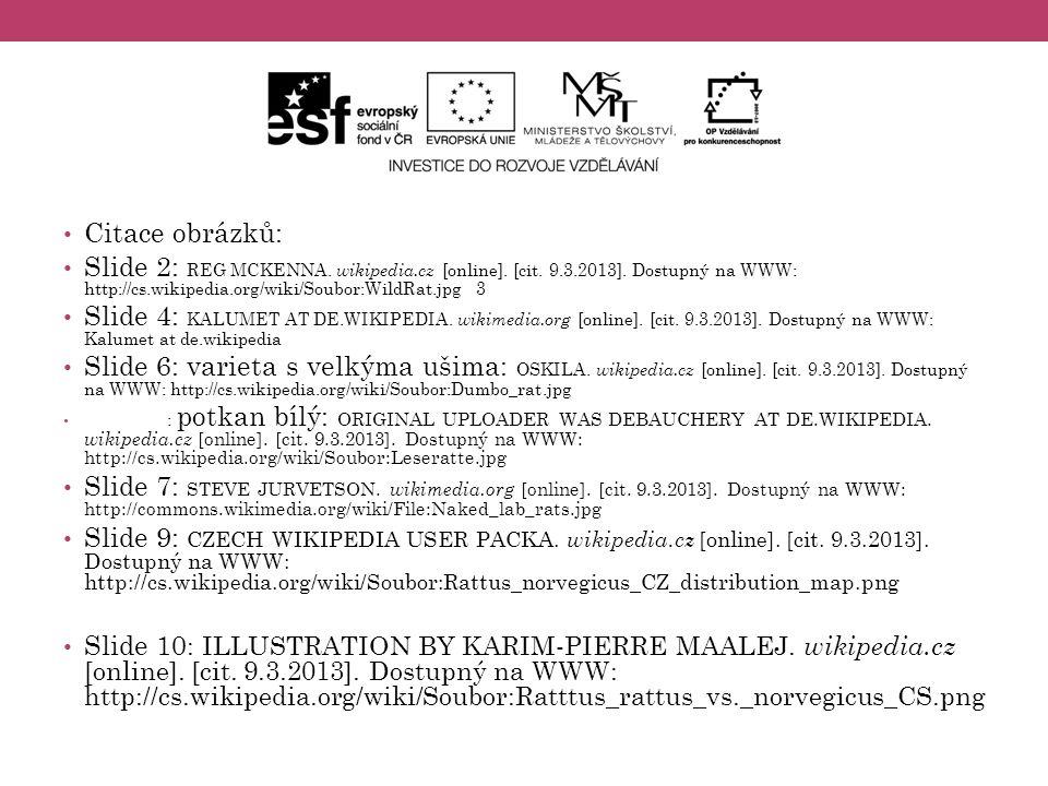 Citace obrázků: Slide 2: REG MCKENNA. wikipedia.cz [online]. [cit. 9.3.2013]. Dostupný na WWW: http://cs.wikipedia.org/wiki/Soubor:WildRat.jpg 3.